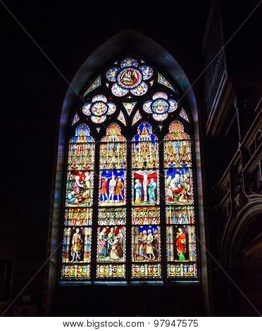 Stained Glass Window Of Basilica Of The Holy Blood In Bruges