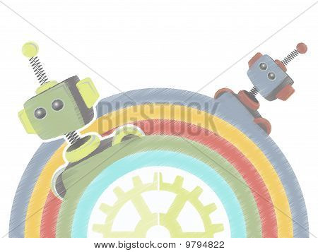 Two Sketchy Robots Popping Up From Rainbow With Gear