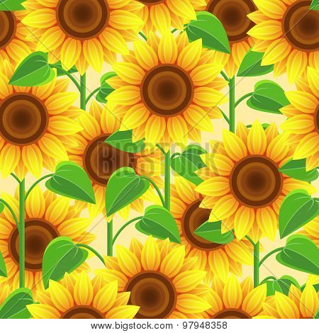 Bright Seamless Pattern With Flowers Sunflowers