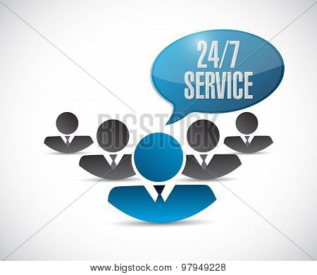 24-7 Service People Sign Concept Illustration