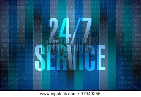 24-7 Service Binary Sign Concept Illustration
