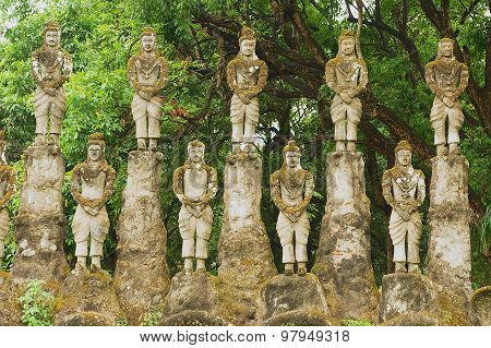 Exterior of the sculptures in Buddha park in Vientiane, Laos.