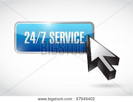 24-7 Service Button Sign Concept