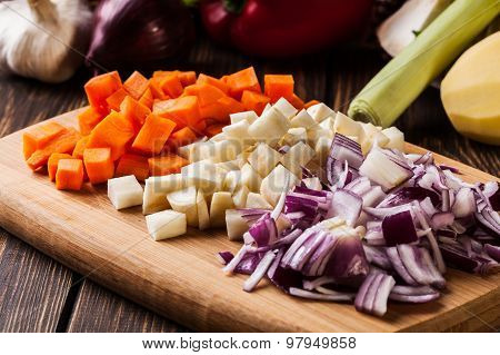 Chopped Vegetables: Carrots, Parsley And Onion