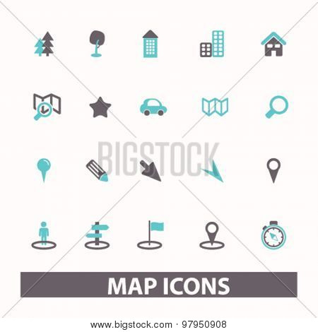 map, route, navigation flat isolated icons, signs, illustrations set, vector