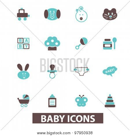 baby, children, toys, play, kid playground flat isolated icons, signs, illustrations set, vector