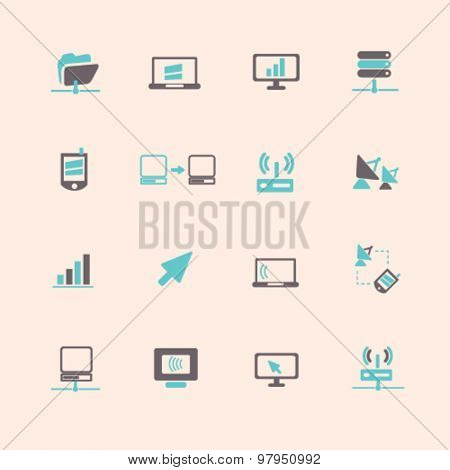 network, computer flat isolated icons, signs, illustrations set, vector