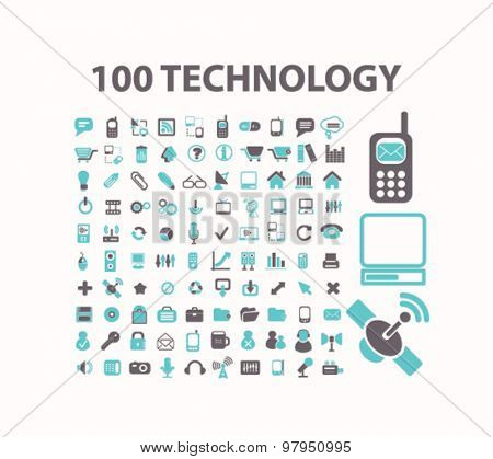 technology, internet, communication, connection flat isolated icons, signs, illustrations set, vector