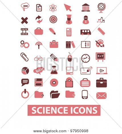 science, laboratory flat web isolated icons, signs, illustrations set, vector on background