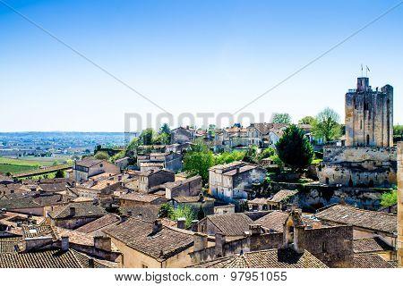 Cityscape Of Saint-emilion Near Bordeaux, France