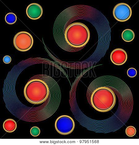 Twirl Elements Background With Colorful Buttons