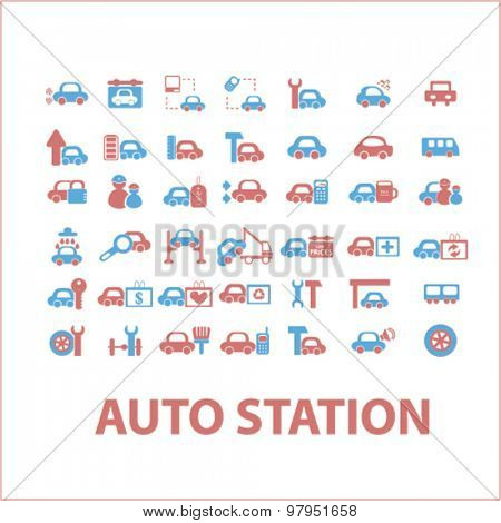 auto station, car services isolated flat web icons, signs, illustrations set, vector
