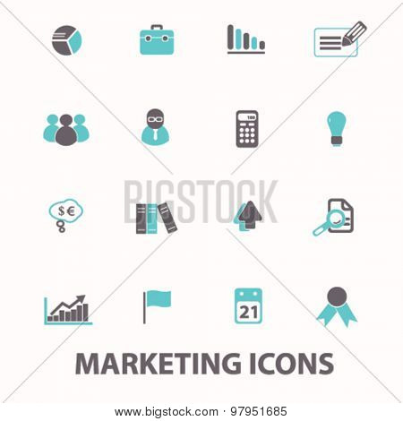 marketing, presentation, strategy flat isolated icons, signs, illustrations set, vector