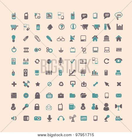 technology, internet, business, media flat isolated icons, signs, illustrations set, vector
