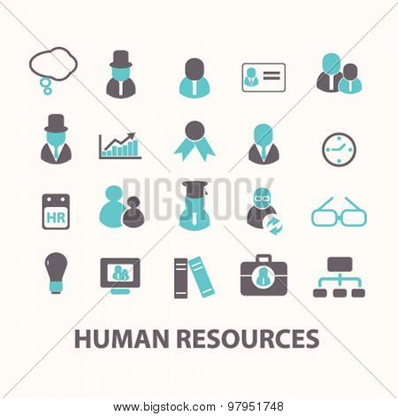 human resources, organization, people flat isolated icons, signs, illustrations set, vector