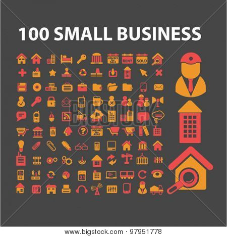 small business isolated flat web icons, signs, illustrations set, vector