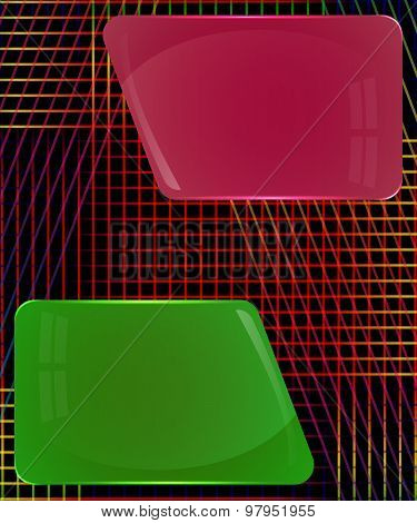 Fuchsia And Dark Green Glass Plates With Colorful Decoration Lines