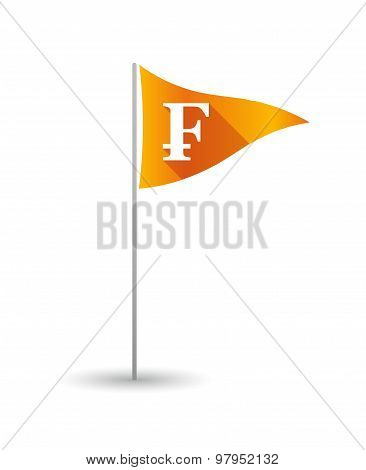 Golf Flag With A Swiss Franc Sign