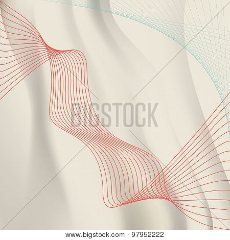 Warm Background Wavy Lines Crossing The Red