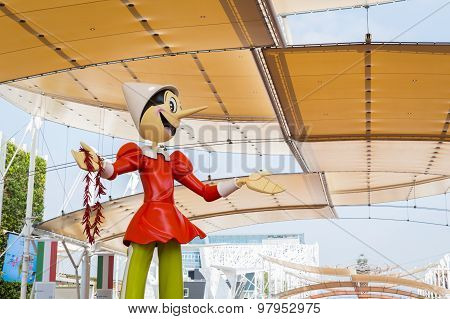 Huge Pinocchio Statue At Expo 2015 In Milan, Italy