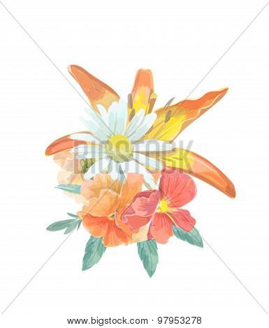 Watercolor Bouquet greeting card with lily,  for  invitation or wedding, birthday,  summer backgroun