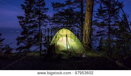 Green Tent At Night