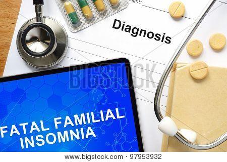Word Fatal familial insomnia.