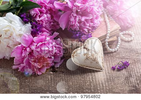 Decorative Heart And Splendid  Pink  And White Peonies Flowers