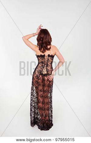 Beautiful Girl Dressed In A Dress Of Black Openwork
