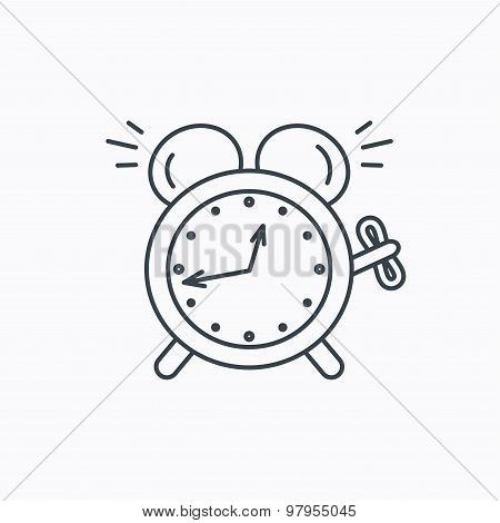 Alarm clock icon. Mechanical retro time sign.