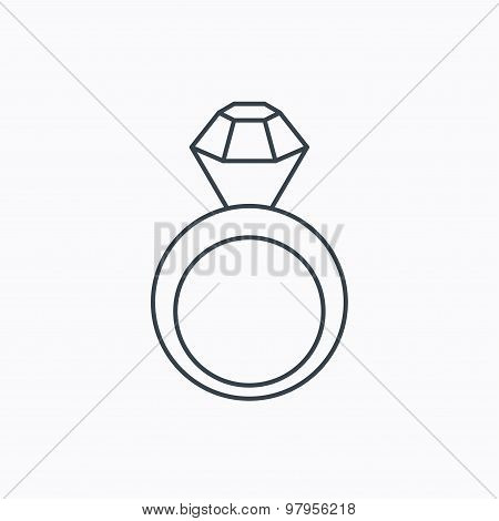 Engagement ring icon. Jewellery with diamond.