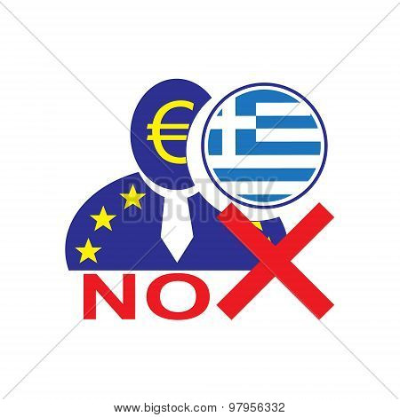 European Union Man Icon With Euro Symbol And Greek Flag Symbolizing The Greece Leaving The Eu With N
