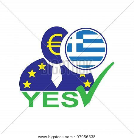 European Union Man Icon With Euro Symbol And Greek Flag Symbolizing The Greece Leaving The Eu With Y