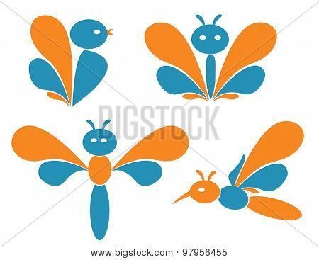 Birds and insects. Set of illustrations.
