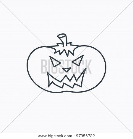 Halloween pumpkin icon. Scary smile sign.