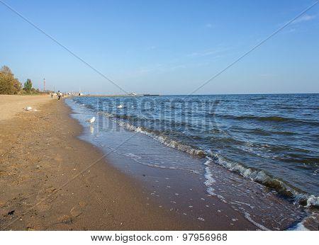 Coastline Of The City Of Mariupol In The Evening. Sea Of Azov
