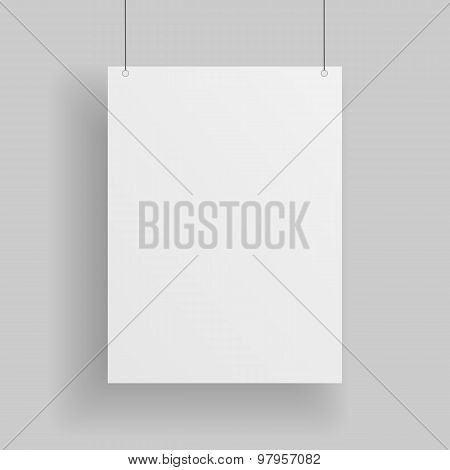 Blank white paper Page hanging against grey Background