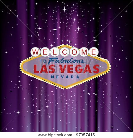 vector Las Vegas sign on purple velvet with stars