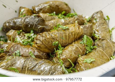 Cooked Dolma In Pot And Plate