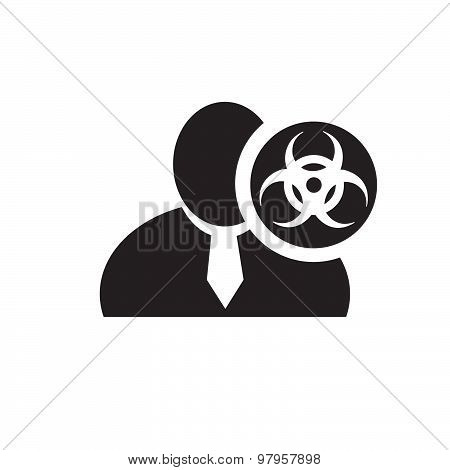 Black Man Silhouette Icon With Biohazard Symbol In An Information Circle, Flat Design Icon For Forum