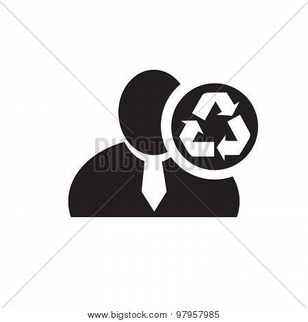 Black Man Silhouette Icon With Recycle Symbol In An Information Circle, Flat Design Icon For Forums