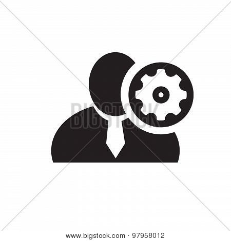 Black Man Silhouette Icon With Setup Symbol In An Information Circle, Flat Design Icon For Forums Or