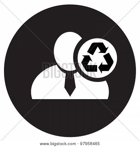 White Man Silhouette Icon With Recycle Symbol In An Information Circle, Flat Design Icon In Black Ci