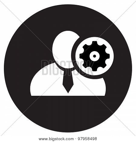 White Man Silhouette Icon With Setup Symbol In An Information Circle, Flat Design Icon In Black Circ
