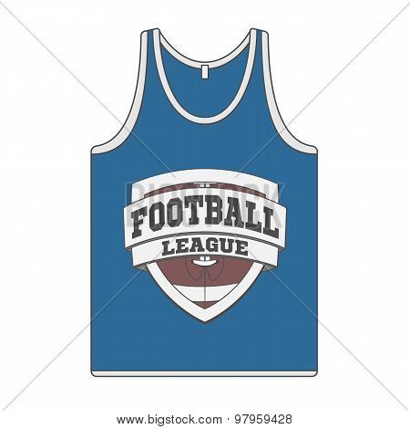 Sleeveless blue Shirt with Football Label