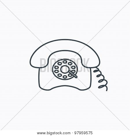 Retro phone icon. Old telephone sign.