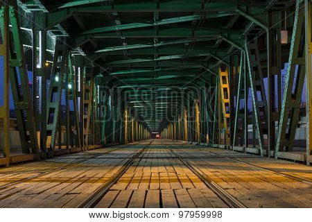 Tramway  In The Gdanski Bridge In Warsaw