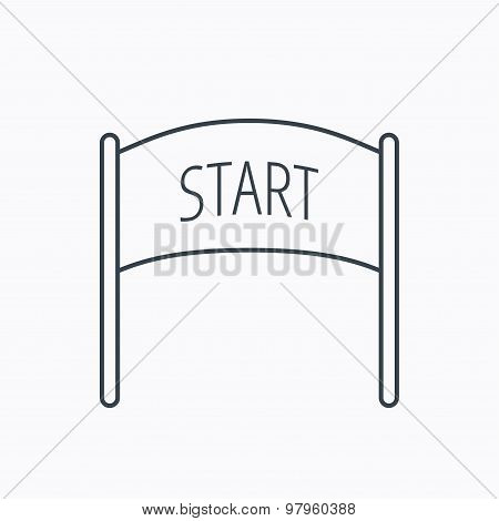 Start banner icon. Marathon checkpoint sign.
