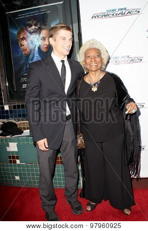 LOS ANGELES, CA - AUGUST 1: Nichelle Nichols and guest arrives at the premiere of Star Trek: Renegades at the Crest Theatre on August 1, 2015 in Los Angeles, CA.