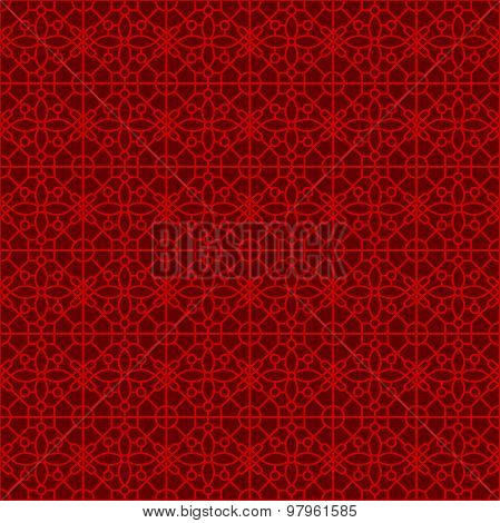 Seamless Chinese window tracery lattice geometry square flower pattern background.